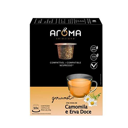 Cápsulas de Chá Camomila com Erva Doce Aroma Selezione, Compatível com Nespresso, Contém 10 Cápsulas