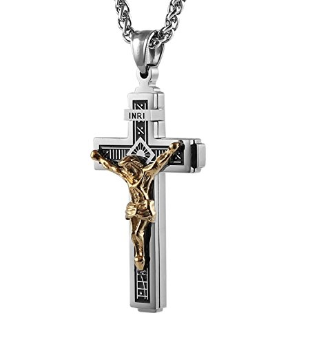 HZMAN Catholic Jesus Christ on INRI Cross Crucifix Gold Silver Tone stainless steel Pendant Necklace 22+2 Chain (Silver & Gold)