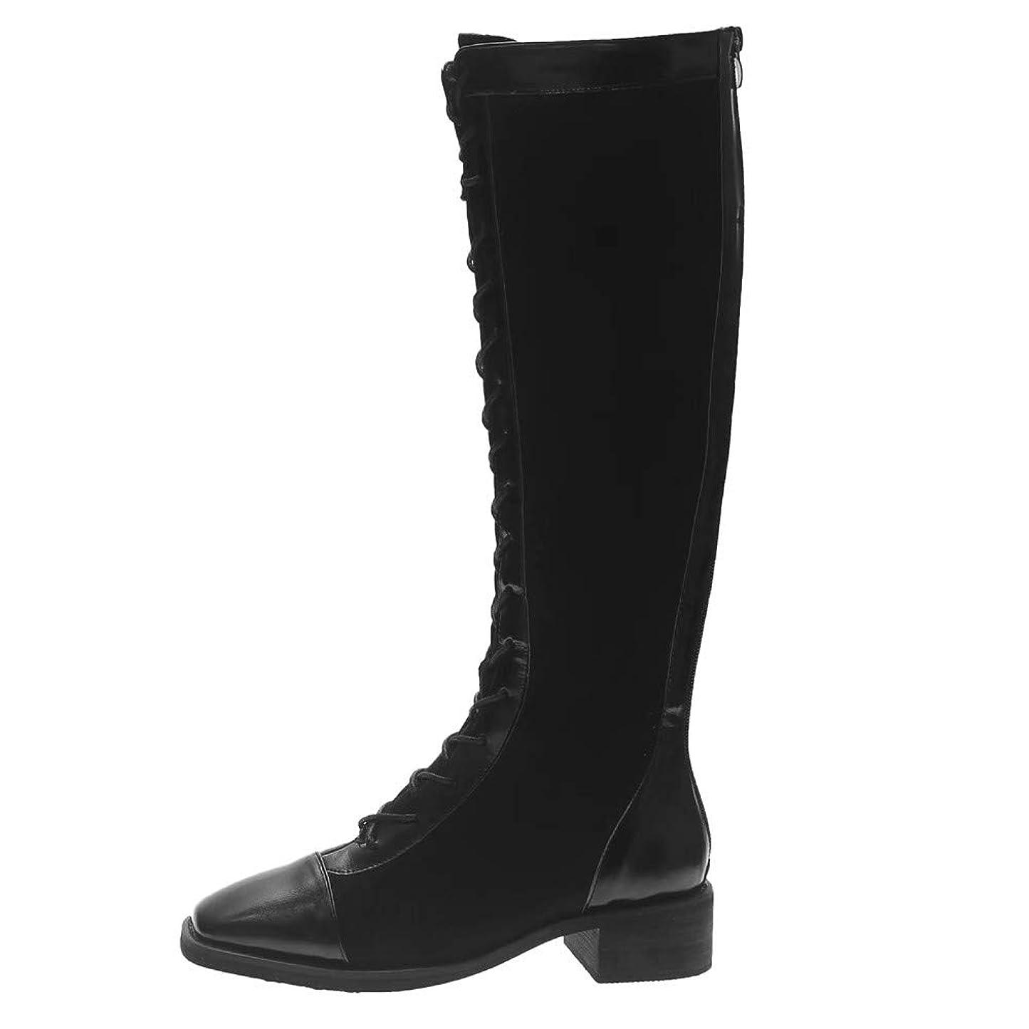 深める有限変更可能幸運な太陽 ハイブーツ レディース シューズ 無地 ファッション ローヒール スクエアトゥ レースアップ ロングチューブ ナイトブーツ 膝上 長靴 ニーハイブーツ (3cmヒール) 大人 上品 疲れない 歩きやすい 靴 保温 防寒 靴