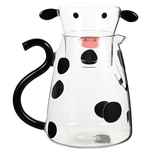 Cabilock Jarra de Agua de Cristal de 550Ml con Taza Encantadora de Vaca de Dibujos Animados Hervidor Frío Floreado Tetera Bote Leche Botella de Bebida Helada Jarra para Regalo de