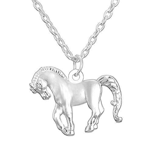 Niedlicher Pony-Anhänger, rhodiniert, Pferd, Halskette für Teenager-Mädchen und kleine Jungen