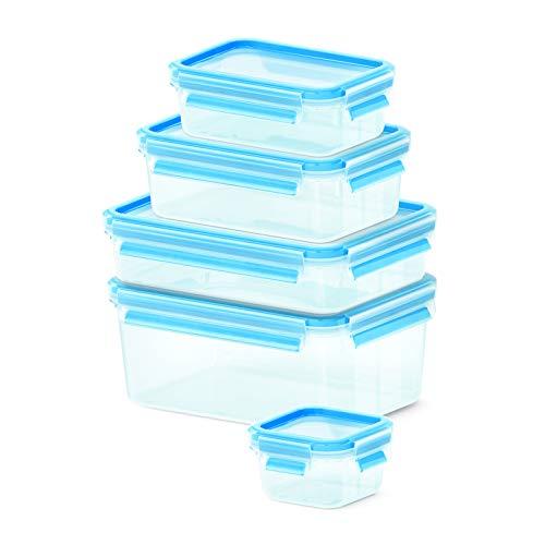 Emsa 512753 Clip & Close Frischhaltedosen   5-teiliges Set   0,25 + 0,55 + 1,00 + 1,20 + 2,30 L   -40 bis +100 Grad   Kunststoff   100 % Dicht   Besondere Frische-Dichtung