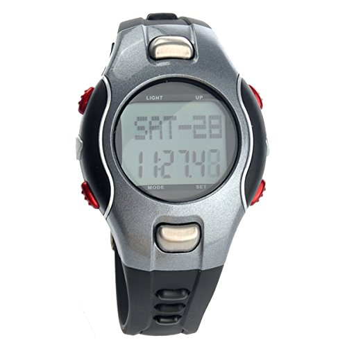 UKCOCO 1002 All-in-one Waterproof Strapless Heart Rate Monitor LED Digital Watch with Pedometer/Stopwatch/Date/Alarm (Grey+Red)