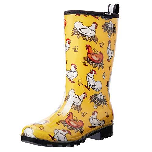 Hisea Women's Rain Boots Waterproof Rubber Rain Shoes for Ladies Wide Calf Garden Boots with Comfort Insole