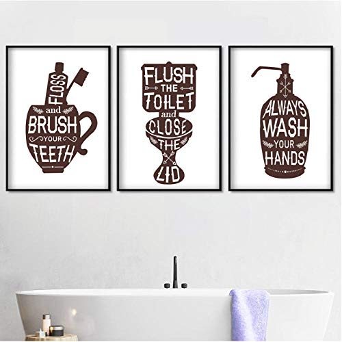 Animato tandpasta tandenborstel kop zeep voor de handen Nordic poster en kunstdruk van de muur van hennep schilderij afbeelding van de muur voor badkamer kunst badkamermeubel 40 x 60 cm x 3