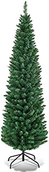 Giantex Green HOMGX Artificial Pencil Christmas Premium Hinged Pine Tree with Solid Metal Legs Perfect for Home Shops and Holiday Decoration  5FT