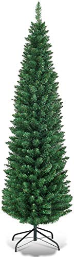 Giantex, Green HOMGX Artificial Pencil Christmas, Premium Hinged Pine Tree with Solid Metal Legs, Perfect for Home, Shops and Holiday Decoration, (5FT)