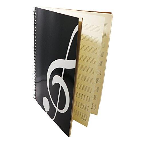 Moreyes Cahier de composition de musique avec partitions vierges Portable 50 pages 26 x 19 cm Noir