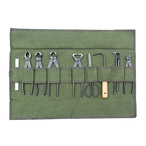 Heavy Duty Canvas Bonsai Tool 10-Pocket Case, Portable Tool Roll Storage Bag for Garden, Compact Wrench Organizer & Tool Pouch