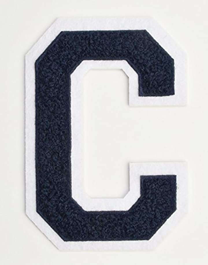 Varsity Letter Patches - Dark Navy Blue Embroidered Chenille Letterman Patch - 4 1/2 inch Iron-On Letter Initials (Navy Blue, Letter C Patch)