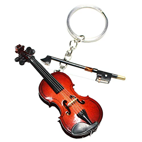 MUSEECS Wooden Miniature Violin Keyring Music Keychain Dollhouse Holiday Accessories Gifts with Case