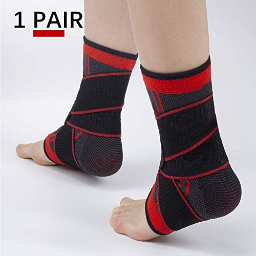 Ankle Brace Set of 2 Compression Support Adjustable Sleeve for Injury Recovery, Joint Pain and More, Arch Brace Support & Foot Stabilizer, Ankle Wrap Protect Against Ankle Sprains or Swelling