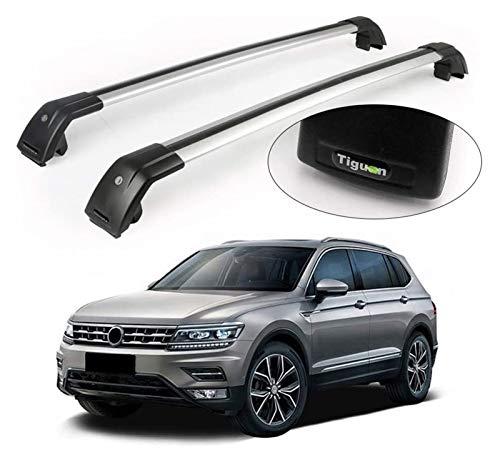 XIAOZHIWEN Barras transversales Ajustables de automóviles Cross Barras con Llave Techo Tapa Tapa Tapa de Equipaje de Equipaje Kits de transportista para VW-Volkswagen- TIGUAN 2017-2020