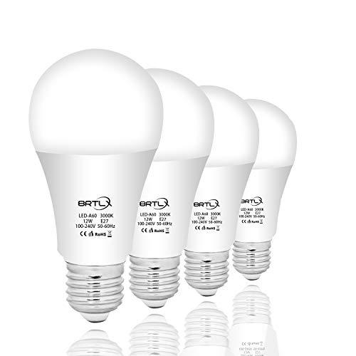 BRTLX E27 LED Lampe 12W ersetzt 100W Warmweiß 3000K 960 Lumen 220° Abstrahlwinkel Nicht Dimmbar 4er Pack