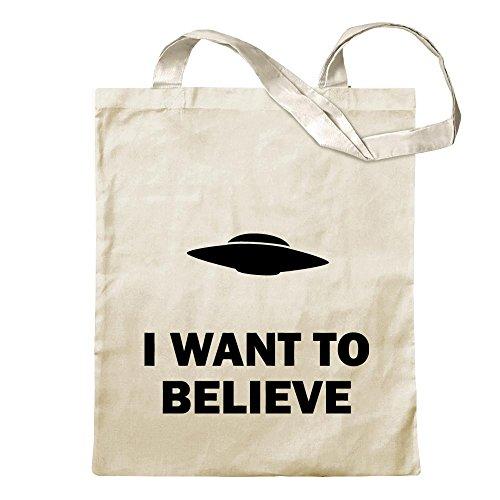 Kiwistar I Want to Believe UFO Tragetasche Baumwolltasche Stoffbeutel Umhängetasche Langer Henkel