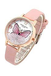 Pink Leather Wrist Watch Butterfly with Floated Rhinestones