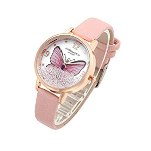 Top Plaza Womens Ladies Fashion Leather Wrist Watch Elegant Simple Butterfly with Floated Rhinestones Analog Quartz Dress Watch