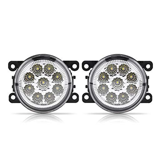 Qiilu Luz antiniebla LED, 9 LED Lámpara antiniebla delantera redonda para coche DRL Luz de circulación diurna Luz antiniebla automática de alto brillo Reemplazo automotriz para White