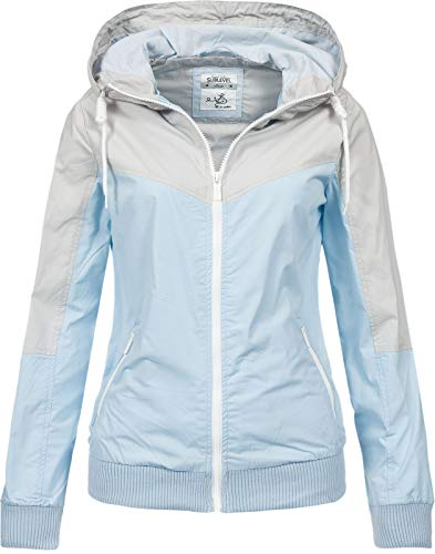 Sublevel Damen Jacke Windbreaker LSL-317/LSL-366 Kapuze, Colour-Block Light Blue S