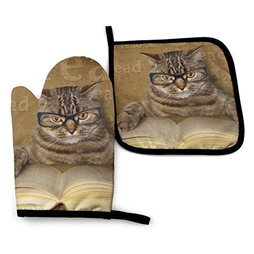 Gafas de gato, libro de lectura, guantes para horno y soportes para ollas, juegos de alfombrillas de cocina, guantes para horno resistentes al calor para cocinar, barbacoa, hornear, parrilla (juego de
