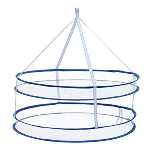 Rehomy Doble capa plegable Tendedero de secado de ropa colgante secadora a prueba de viento malla cesta