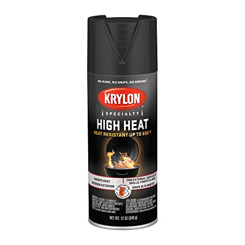 Krylon K01707077 High Heat Spray Paint, Aerosol, Flat Black