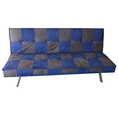 AVANTI TRENDSTORE CLIP- Divano grigio/blu con funzione letto in microfibra, ca. 34x90x107 cm