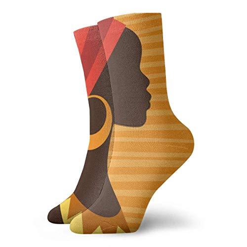 XCNGG Calcetines Silueta De Niña Africana De Perfil Con Pendientes Senderismo Clásico Caminar Viajar Calcetines