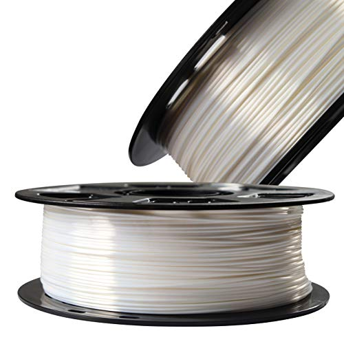 Silk Pearl White PLA Satin Shiny 3D Printer Filament, 1.75mm Diameter 1kg/Spool 2.2lbs Widely Support FDM 3D Printers, with Extra One Bag Filament Sample Gift DO3D
