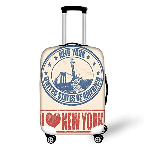 Travel Luggage Cover Suitcase Protector,Retro Poster,Vintage I Love New York with Statue of Liberty Grunge Rubber Stamps Design,Blue Orange,for TravelL 25.9x37.8Inch