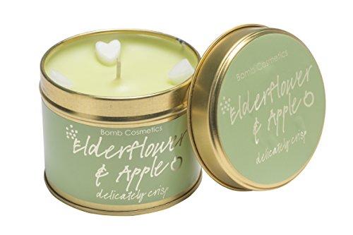 Bomb Cosmetics Holunderblüte und Apple Duftkerze mit Brenndauer 30–35Stunden, Dose, grün, 7X 7X 7cm