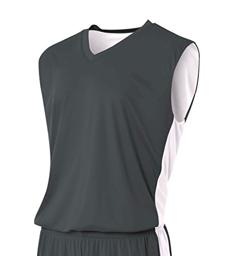 A4 musculatura reversível de gerenciamento de umidade para meninos, Graphite/White, Medium