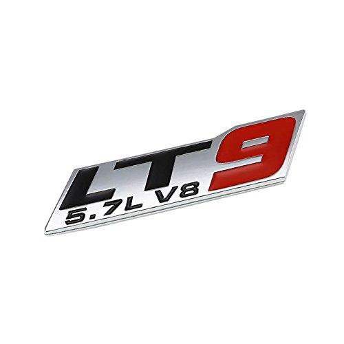 UrMarketOutlet 5.7L V8 LT9 Black/Red/Chrome Aluminum Alloy Auto Trunk Door Fender Bumper Badge Decal Emblem Adhesive Tape Sticker