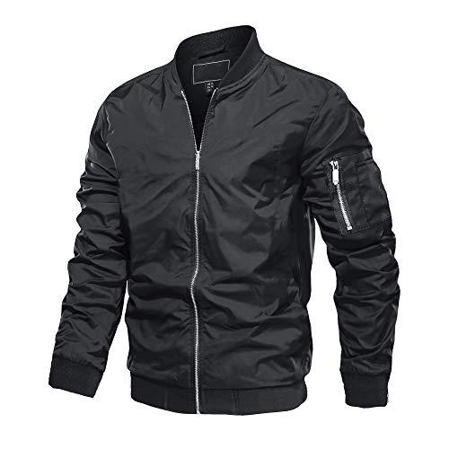 MAGCOMSEN Herren Bomberjacke Übergangsjacke College Jacket Fliegerjacke Polyester Jacken für Männer Leicht Blouson Multi Taschen Armeejacke Feldjacke Schwarz 3XL (Etikett: 4XL)