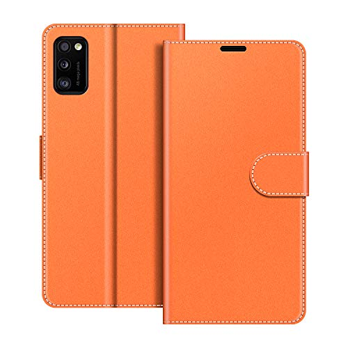 COODIO Handyhülle für Samsung Galaxy A41 Handy Hülle, Samsung Galaxy A41 Hülle Leder Handytasche für Samsung Galaxy A41 Klapphülle Tasche, Orange