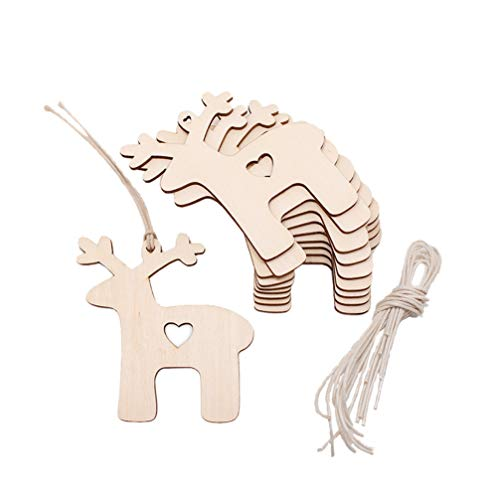 Toyvian 30pcs Wooden Gift Tags with Holes and Jute Twines Unfinished Wood Heart Reindeer Cutouts Shapes Ornaments Wooden Slices for DIY Craft Painting