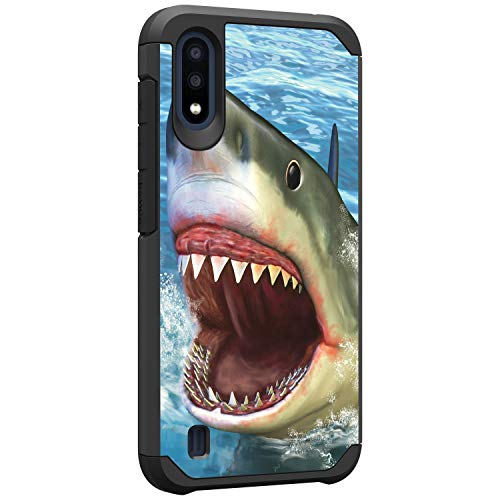 TurtleArmor | Compatible with Samsung Galaxy A01 Case (2020) | A015 | Shockproof Hybrid Impact Armor Slim Case Sea Ocean - Shark Attack