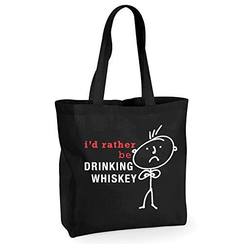 60 Second Makeover Limited Pour homme I'd rather be Drinking Whisky Coton Noir de qualité Sac shopping Cabas réutilisable Mari Dad Oncle grand-père anniversaire Noël Saint Valentin Cadeau