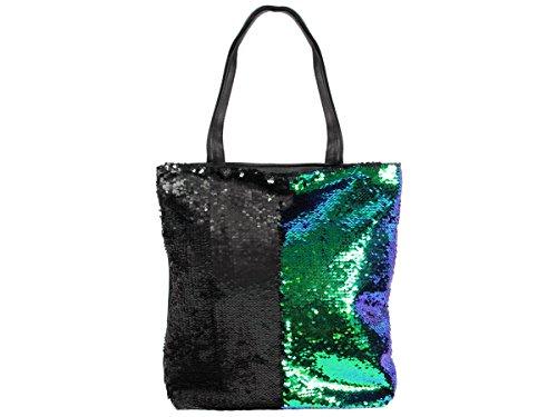 Pailletten Shopper Tasche Geräumige Strandtasche mit Wendepailletten 37 cm x 34 cm mit Reißverschluss Shopperbag Tragetasche Schultertasche von Alsino, Variante wählen:TT-P02 grün schwarz