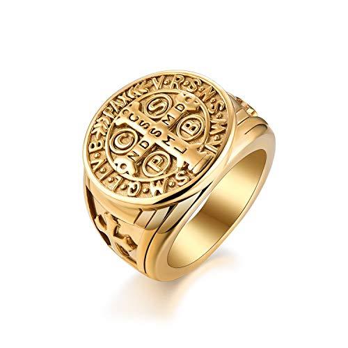 JewelryWe Joyas - Anillo de hombre y mujer, punk de acero inoxidable, con cruz de la Orden de San Benito de Norcia, regalo dorado