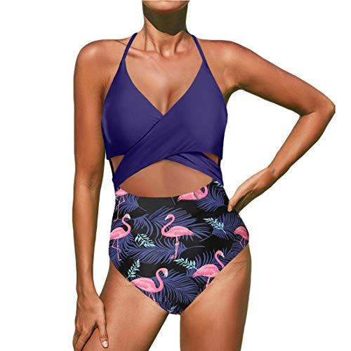 ZHUQI Costume da Bagno Donna Sling Scollo a V Costume da Bagno Intero Sexy Beachwear Scava Fuori Bikini Push Up Costumi da Bagno con Pantaloncini Stampati Estate Nuovo Stile XXL