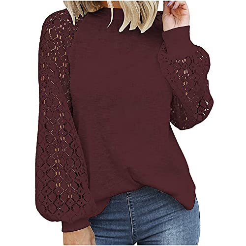 Cute Shirts for Women Lantern Sleeve Tops Openwork Sweater Waffle Knit Pullover Lace Stitching Blouse Fall Clothes Wine