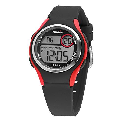 SINAR Unisex-Armbanduhr Jugenduhr Sportuhr Outdoor Digital Quarz 10 bar mit Silikonband und Licht Schwarz Rot XE-64-4