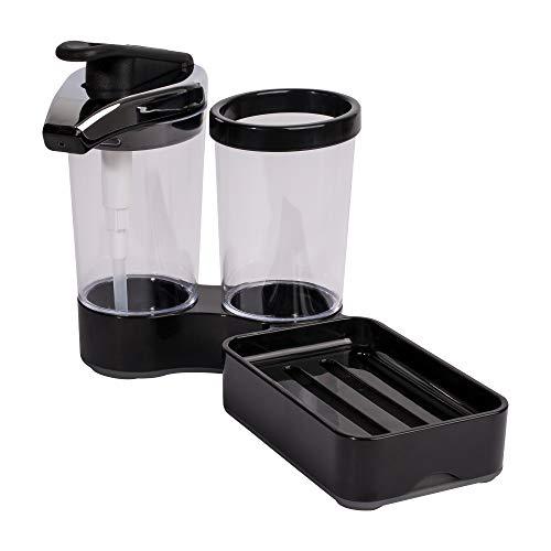Casabella Swing Sider Solo Adjustable Soap Dispenser and Sponge Holder, Black