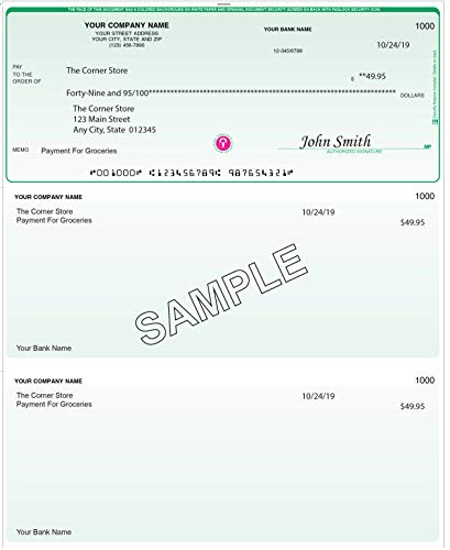Checks For Less   Business Laser Voucher Checks Signature Line Only   Top Check with Two Vouchers   Quick Books/Quicken Compatible   Use with Laser or Inkjet Printers (250, Classic Green)