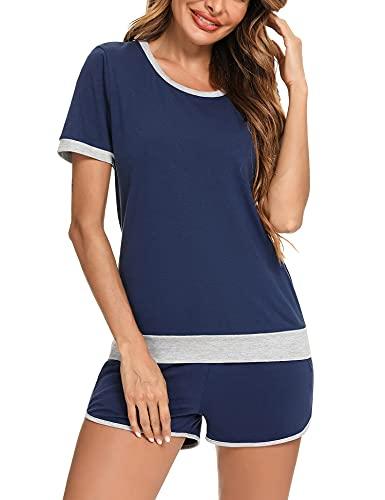 Irevial Chándal Conjunto Mujer Verano Conjunto Camiseta Manga Corta y Pantalones Cortos con Bolsillo y Cordón para Fitness Jogging Correr Azul Real, S
