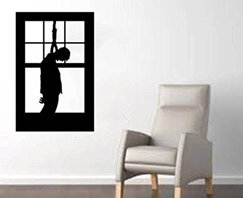 eng man opknoping in een raam grote halloween muur sticker zwart
