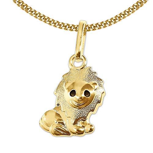 Clever sieraden gouden kinderen hanger kleine leeuw 10 mm ogen zwart gelakt deels mat & ketting pantser 45 cm 333 GOUD 8 KARAT