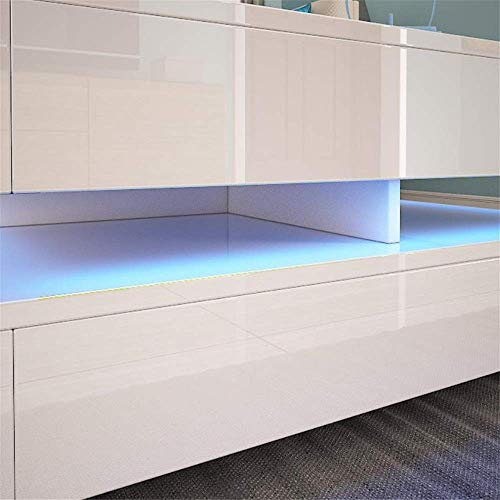Daily Equipment Tatami Coffee Table Nordic Modern High Gloss Coffee Table Coffee Table Living Room with LED Lighting Furniture for Living Room Bedroom Coffee Tables (Color : White Size : 75x75x35cm
