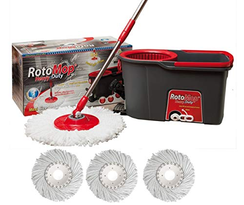 Rotomop Maxi Professional con Pedale rinforzato + n.° 4 Mop Mocio Ricambio + Manico Acciaio - - Secchio Lavapavimenti Rotante